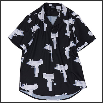 노매뉴얼NM UZI BUTTON UP SHIRT - BLACK
