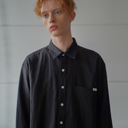 필루미네이트UNISEX Pure Linen Shirt-Black