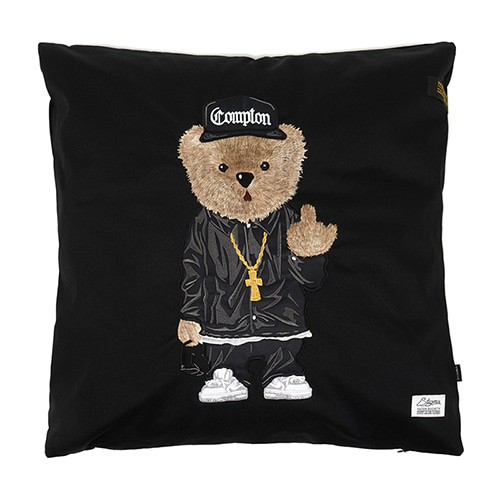 스티그마COMPTON BEAR THROW PILLOW BLACK