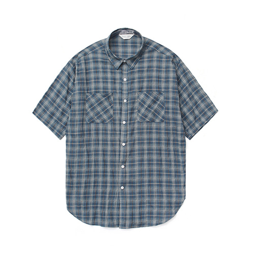라퍼지스토어Linen Ombre Check Shirt_Navy
