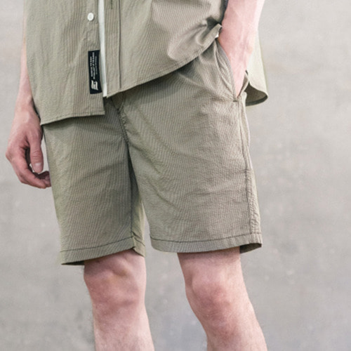 필루미네이트UNISEX Seersucker Cool Shorts-Khaki