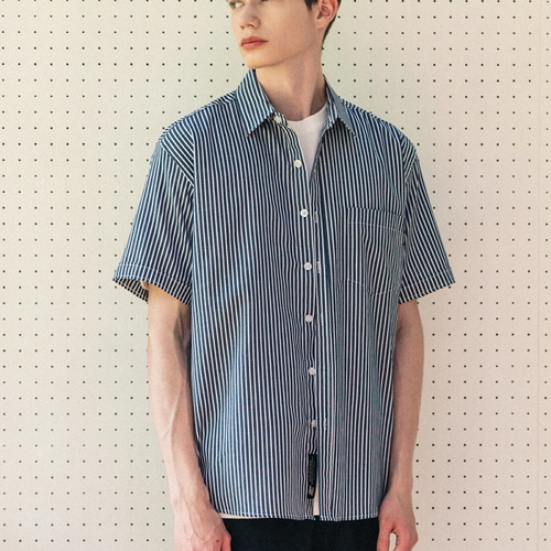 필루미네이트UNISEX Comet Stripe Shirt-Navy