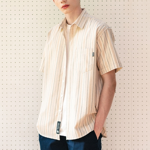 필루미네이트UNISEX Respect Stripe Shirt-Beige
