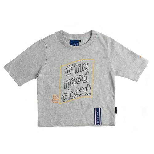 로맨틱크라운 Post Logo Crop T Shirt_Grey