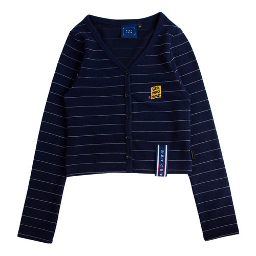로맨틱크라운 Stripe Knit Cardigan_Navy