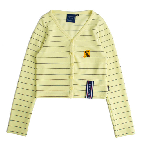 로맨틱크라운 Stripe Knit Cardigan_Yellow
