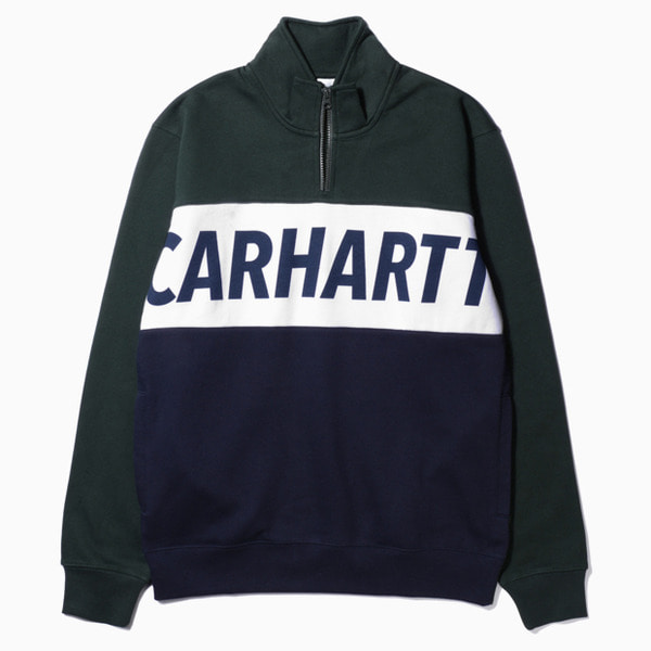 칼하트WIP레트로 스포츠 하프 집 스웻RETRO SPORT HALF ZIP SWEATLODEN/WHITE/DARK NAVY