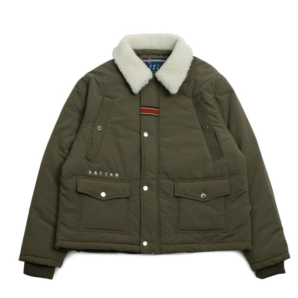 로맨틱크라운 Chest Pocket Sherpa Jacket_Khaki