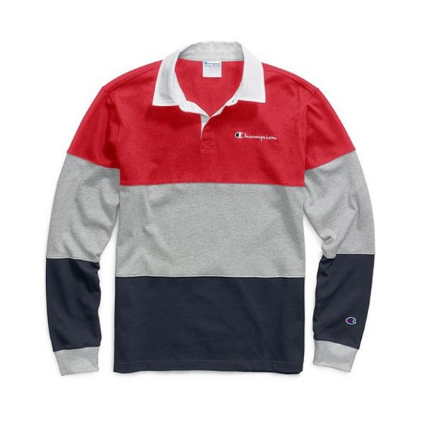 챔피온컬러블록 럭비 셔츠COLORBLOCK RUGBY SHIRTSCARLET / OX GREY / NAVY