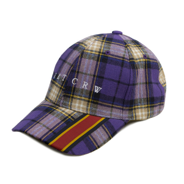 로맨틱크라운 Webbing Check Ball Cap_Purple