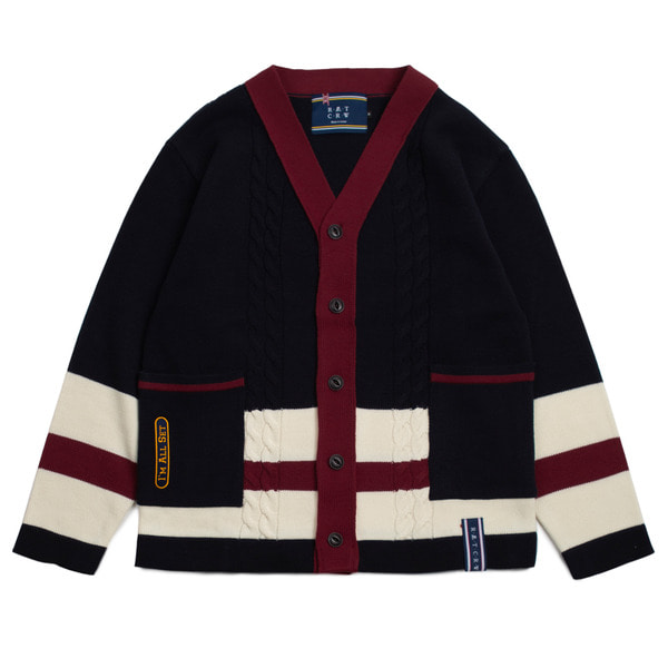 로맨틱크라운 Button Cable Knit Cardigan_Navy