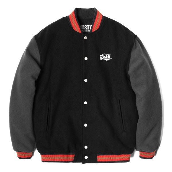 네스티킥[NK] NSTK NARROW VARSITY JACKET BLACK (NK18A118H)