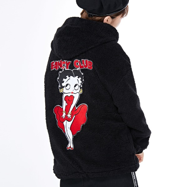 BETTY BOOP FLEECE HOOD ZIPUP BLACK (NF18A126H)