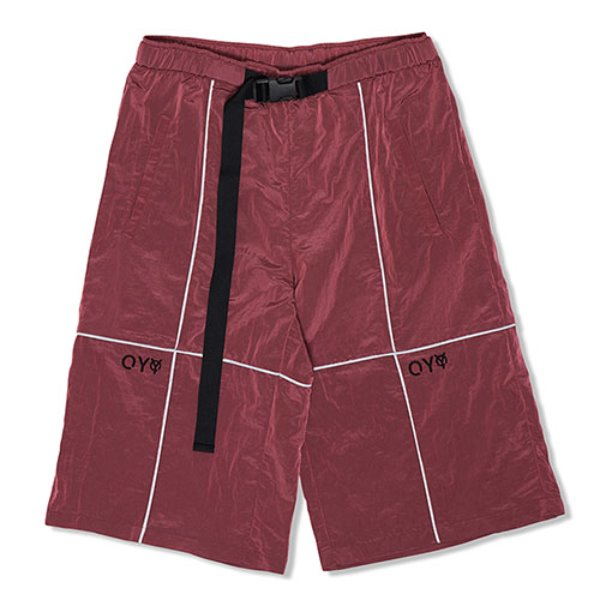 오와이REFLECTIVE METAL WIDE PANTS-BURGUNDY