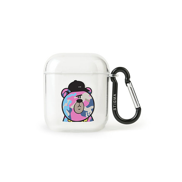 스티그마AirPods CASE CAMOUFLAGE BEAR PINK CLEAR
