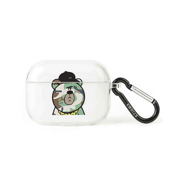 스티그마AirPods Pro CASE CAMOUFLAGE BEAR GREEN CLEAR