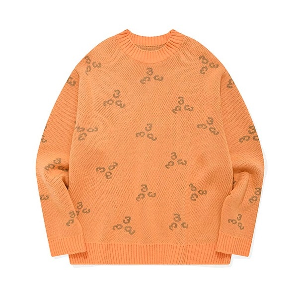 포스333 333 PATTERN KNIT PULLOVER (ORANGE)