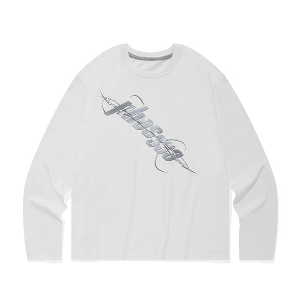 포스333CHROME LOGO L/S/WHITE