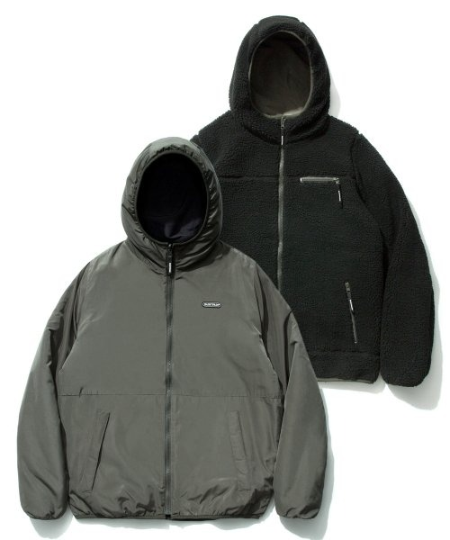 세인트페인REVERSIBLE BOA HOOD JACKET (BLACK)