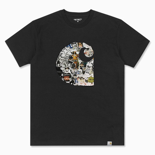 칼하트WIP 콜라쥬 티셔츠S/S COLLAGE T-SHIRTBLACK/MULTICOLOR RINSED
