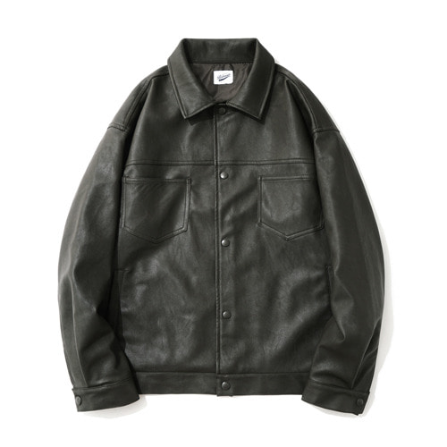 파르티멘토Leather 2nd Trucker Jacket Khaki