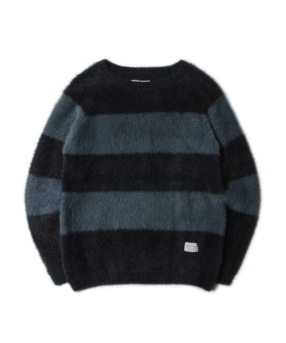 세인트페인SP WOODY ANGORA STRIPE KNIT-BLACK