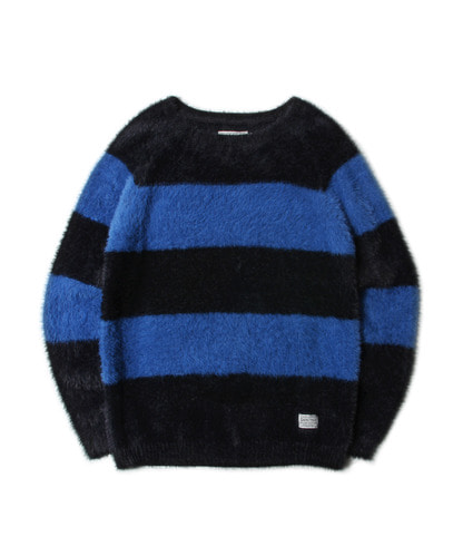 세인트페인SP WOODY ANGORA STRIPE KNIT-BLUE
